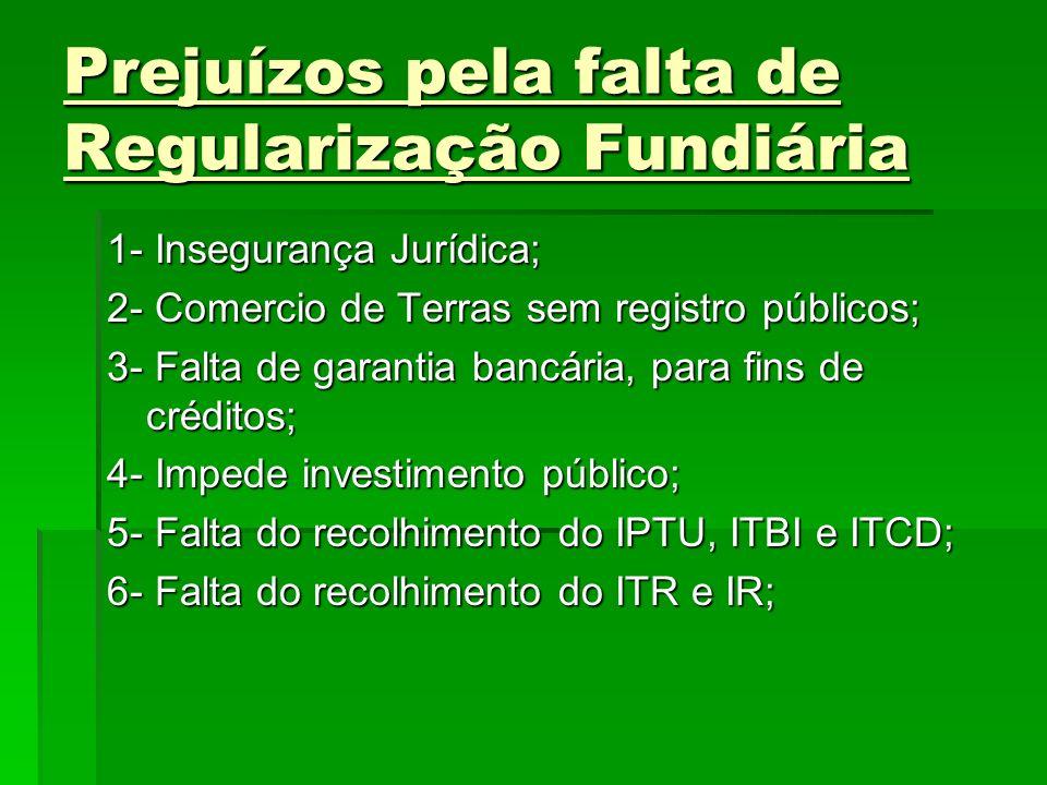 Prejuízos pela falta de Regularização Fundiária 1- Insegurança Jurídica; 2- Comercio de Terras sem registro públicos; 3- Falta de garantia bancária, p