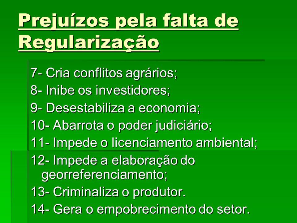 Prejuízos pela falta de Regularização 7- Cria conflitos agrários; 8- Inibe os investidores; 9- Desestabiliza a economia; 10- Abarrota o poder judiciár