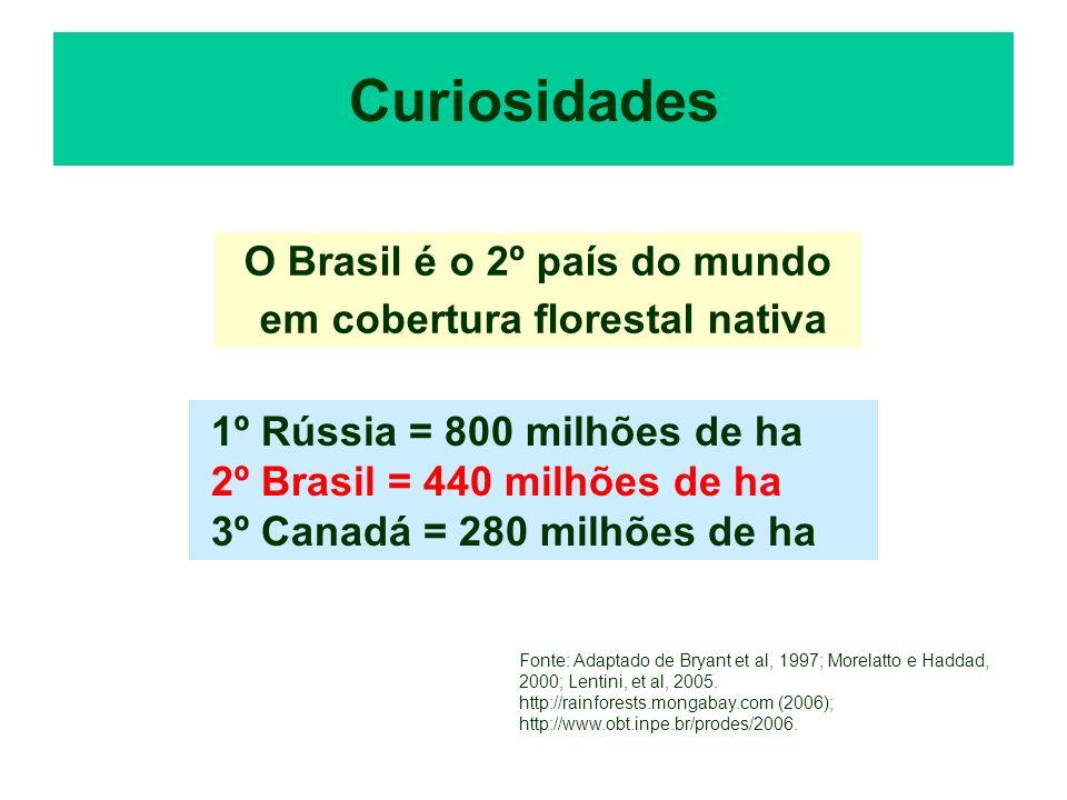 Curiosidades O Brasil é o 2º país do mundo em cobertura florestal nativa 1º Rússia = 800 milhões de ha 2º Brasil = 440 milhões de ha 3º Canadá = 280 m