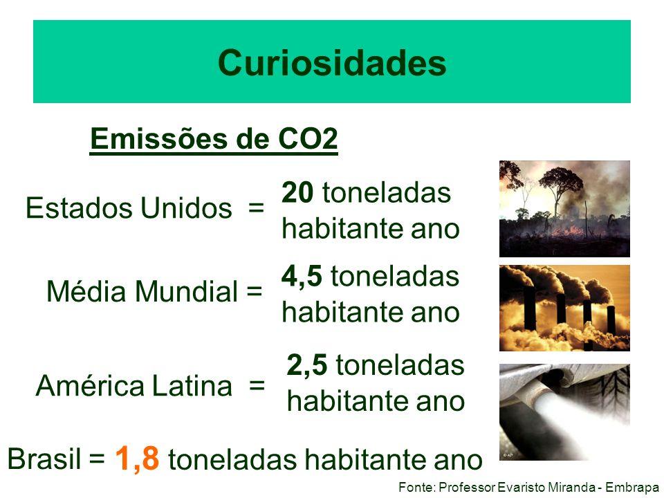 Curiosidades Emissões de CO2 Estados Unidos = Média Mundial = América Latina = Brasil = 1,8 toneladas habitante ano 20 toneladas habitante ano 4,5 ton