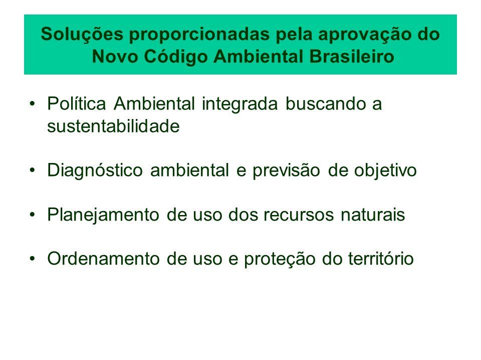 Soluções proporcionadas pela aprovação do Novo Código Ambiental Brasileiro Política Ambiental integrada buscando a sustentabilidade Diagnóstico ambien