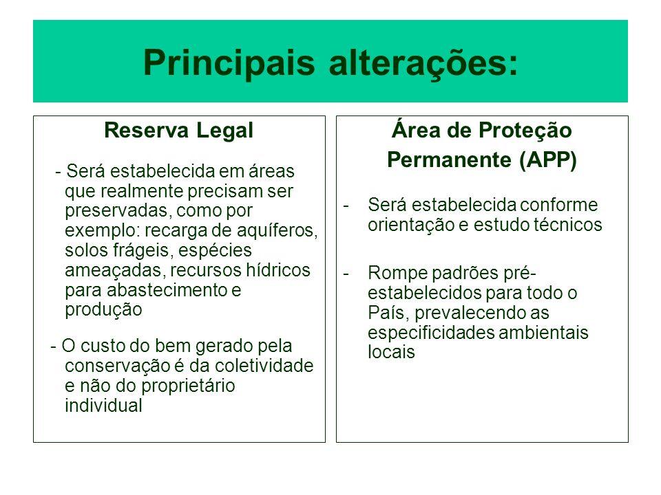 Principais alterações: Reserva Legal - Será estabelecida em áreas que realmente precisam ser preservadas, como por exemplo: recarga de aquíferos, solo