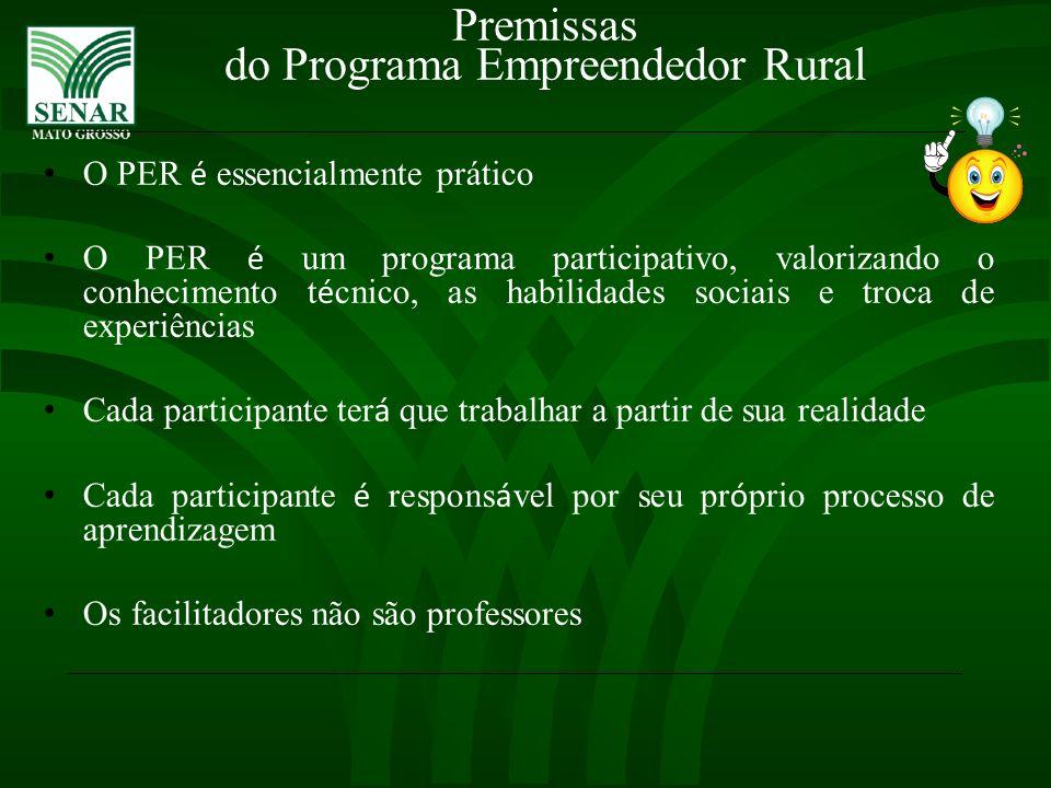 Premissas do Programa Empreendedor Rural O PER é essencialmente prático O PER é um programa participativo, valorizando o conhecimento t é cnico, as ha