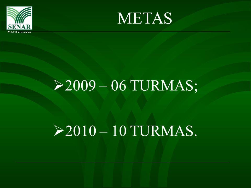 METAS 2009 – 06 TURMAS; 2010 – 10 TURMAS.