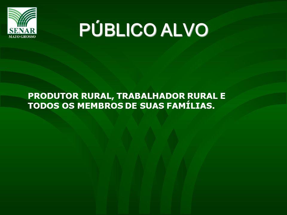 PÚBLICO ALVO PRODUTOR RURAL, TRABALHADOR RURAL E TODOS OS MEMBROS DE SUAS FAMÍLIAS.
