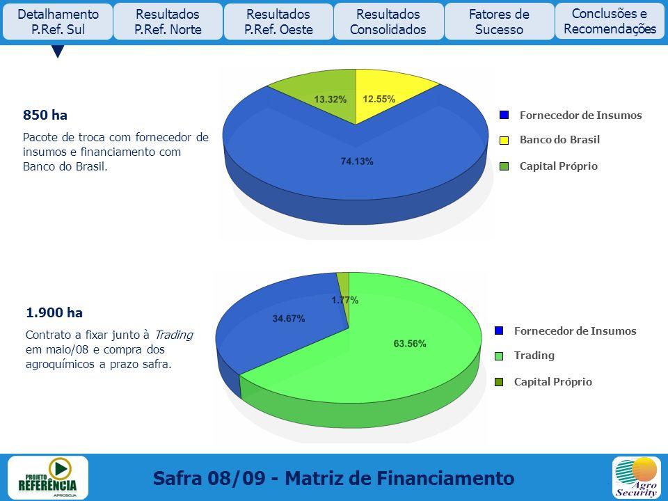850 ha Pacote de troca com fornecedor de insumos e financiamento com Banco do Brasil. 1.900 ha Contrato a fixar junto à Trading em maio/08 e compra do