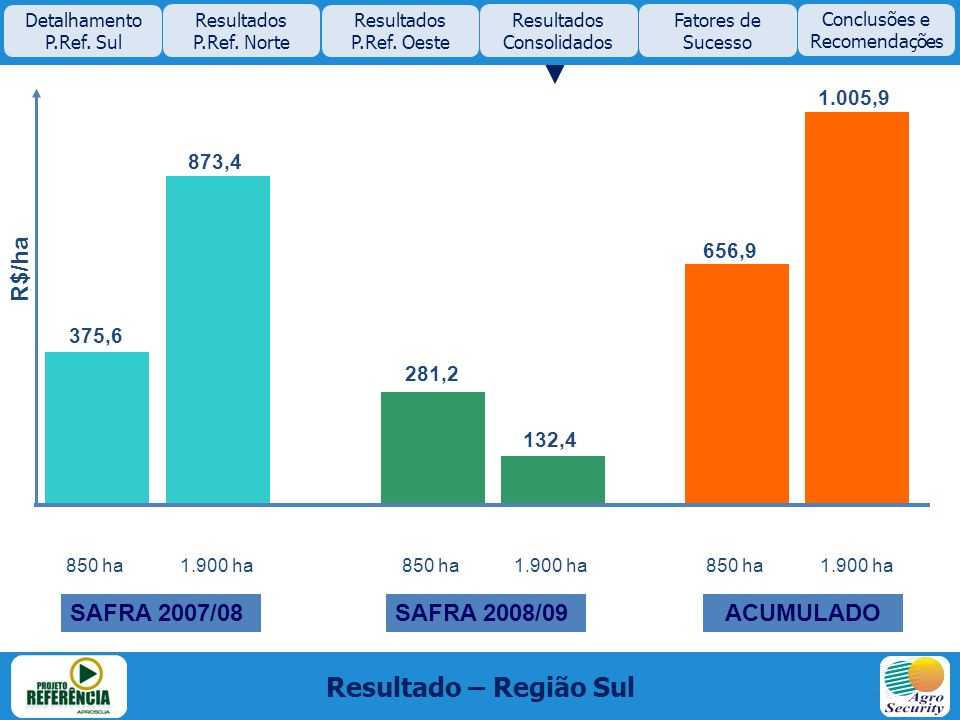 Resultado – Região Sul 1.005,9 Detalhamento P.Ref. Sul Resultados P.Ref. Norte Resultados P.Ref. Oeste Resultados Consolidados Fatores de Sucesso 850