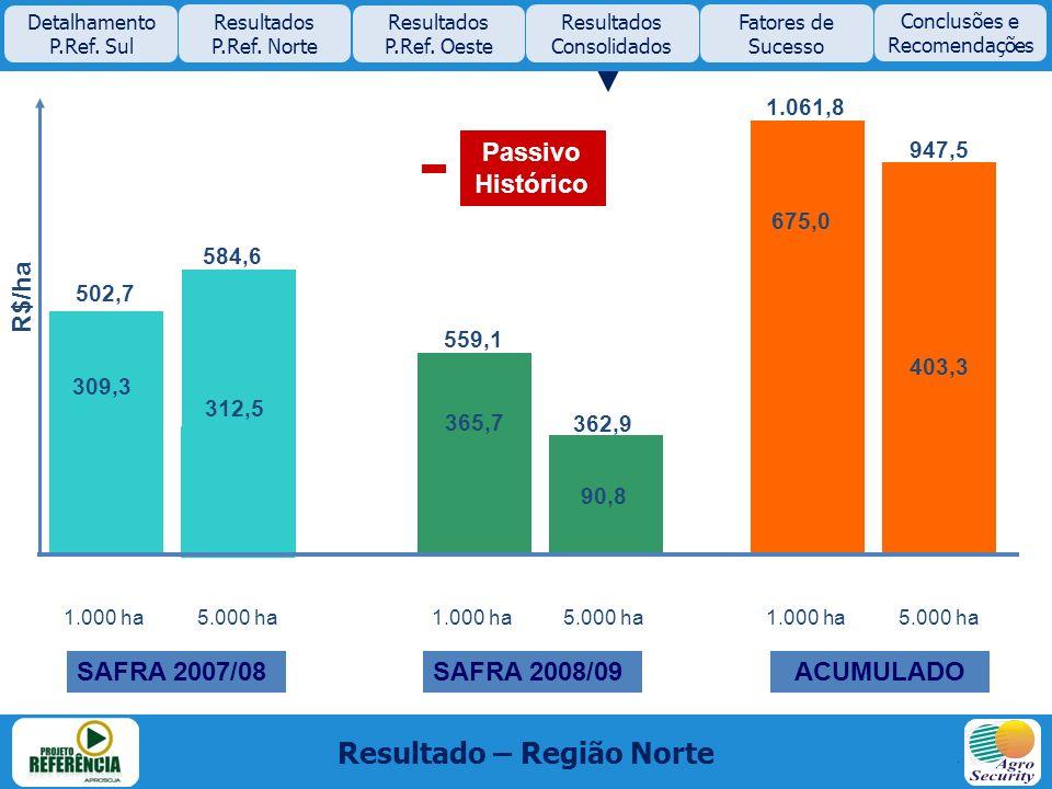 502,7 584,6 559,1 362,9 1.061,8 947,5 309,3 312,5 365,7 90,8 675,0 403,3 Resultado – Região Norte Detalhamento P.Ref. Sul Resultados P.Ref. Norte Resu