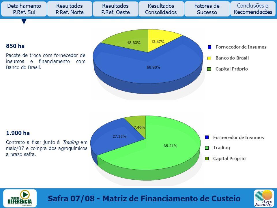 850 ha Pacote de troca com fornecedor de insumos e financiamento com Banco do Brasil. 1.900 ha Contrato a fixar junto à Trading em maio/07 e compra do