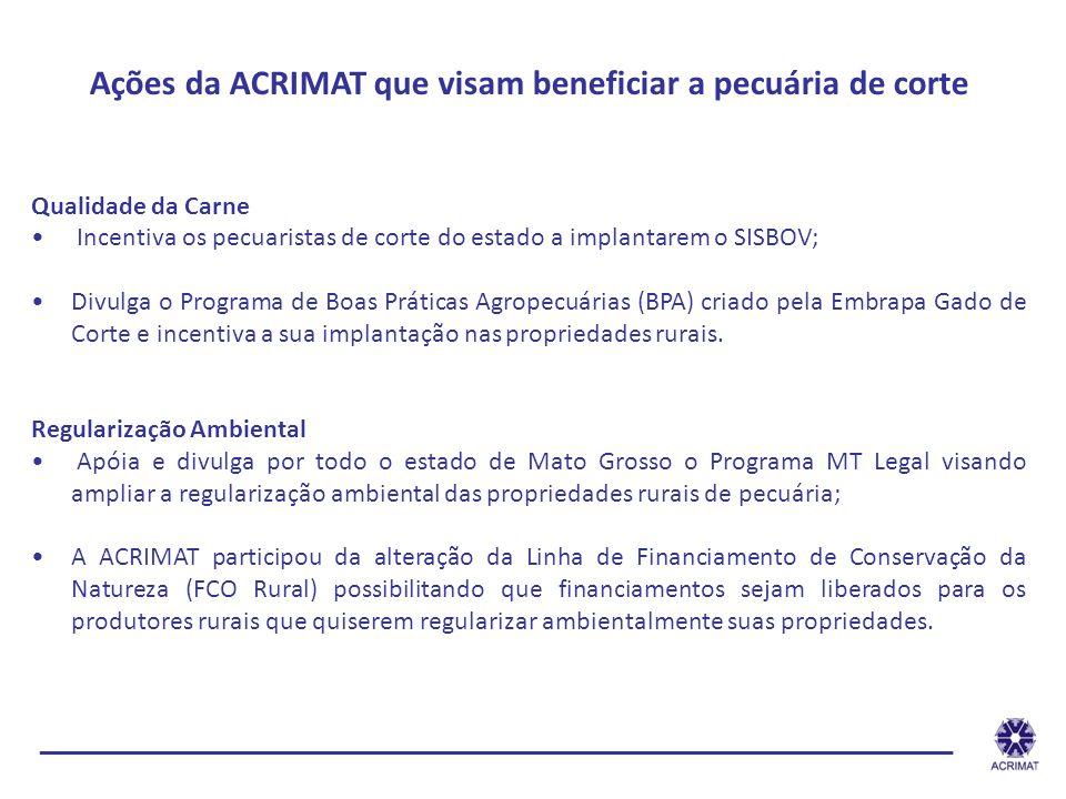 Ações da ACRIMAT que visam beneficiar a pecuária de corte Qualidade da Carne Incentiva os pecuaristas de corte do estado a implantarem o SISBOV; Divul