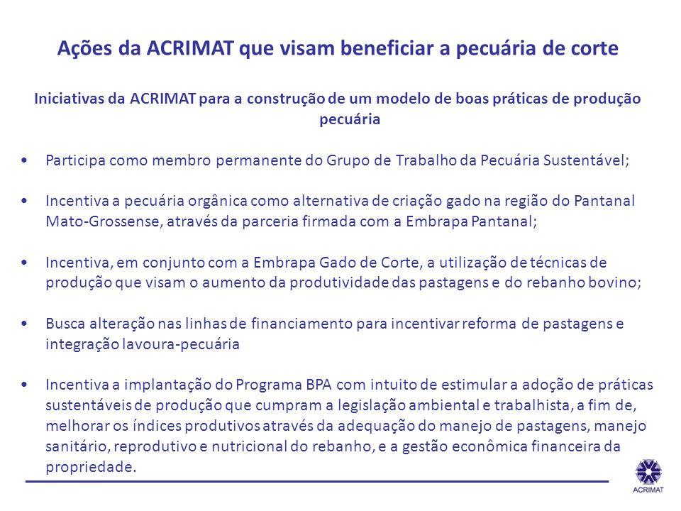 ______________________________________________________________ Ações da ACRIMAT que visam beneficiar a pecuária de corte Iniciativas da ACRIMAT para a
