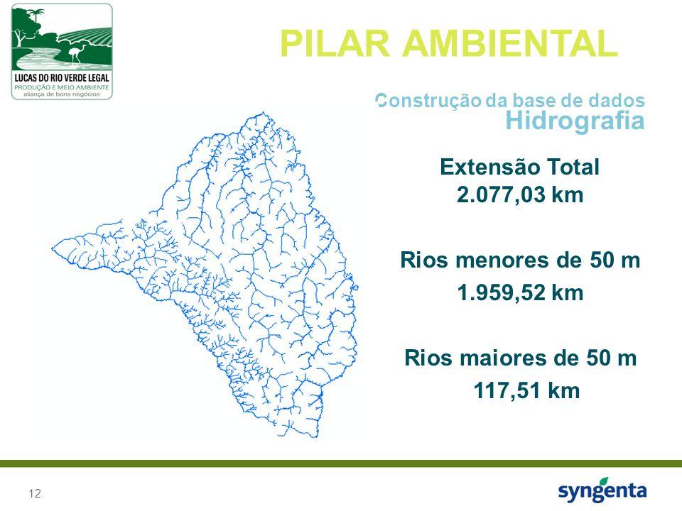 12 PILAR AMBIENTAL Construção da base de dados Hidrografia Extensão Total 2.077,03 km Rios menores de 50 m 1.959,52 km Rios maiores de 50 m 117,51 km