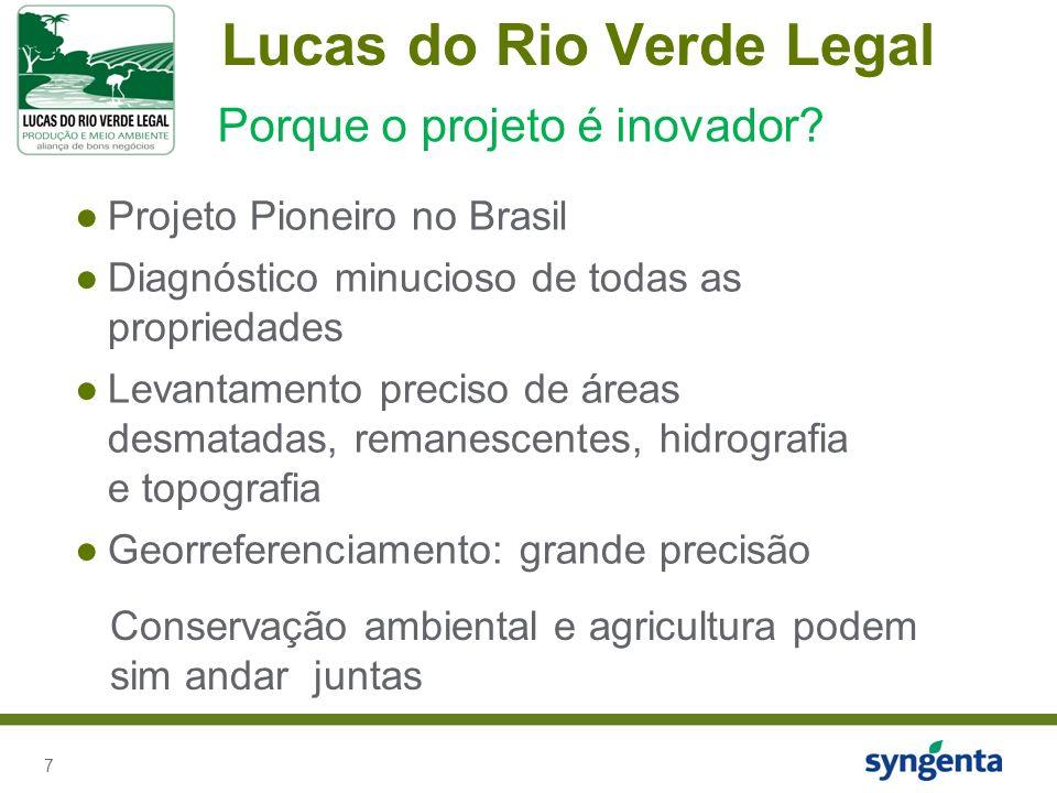 7 Lucas do Rio Verde Legal Projeto Pioneiro no Brasil Diagnóstico minucioso de todas as propriedades Levantamento preciso de áreas desmatadas, remanescentes, hidrografia e topografia Georreferenciamento: grande precisão Porque o projeto é inovador.