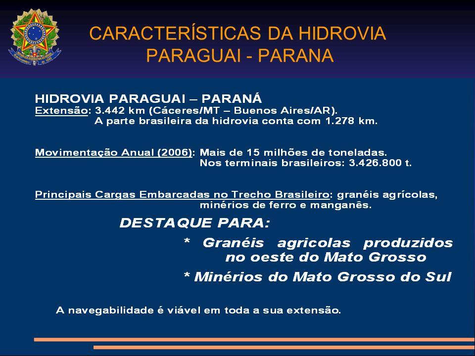 CARACTERÍSTICAS DA HIDROVIA PARAGUAI - PARANA