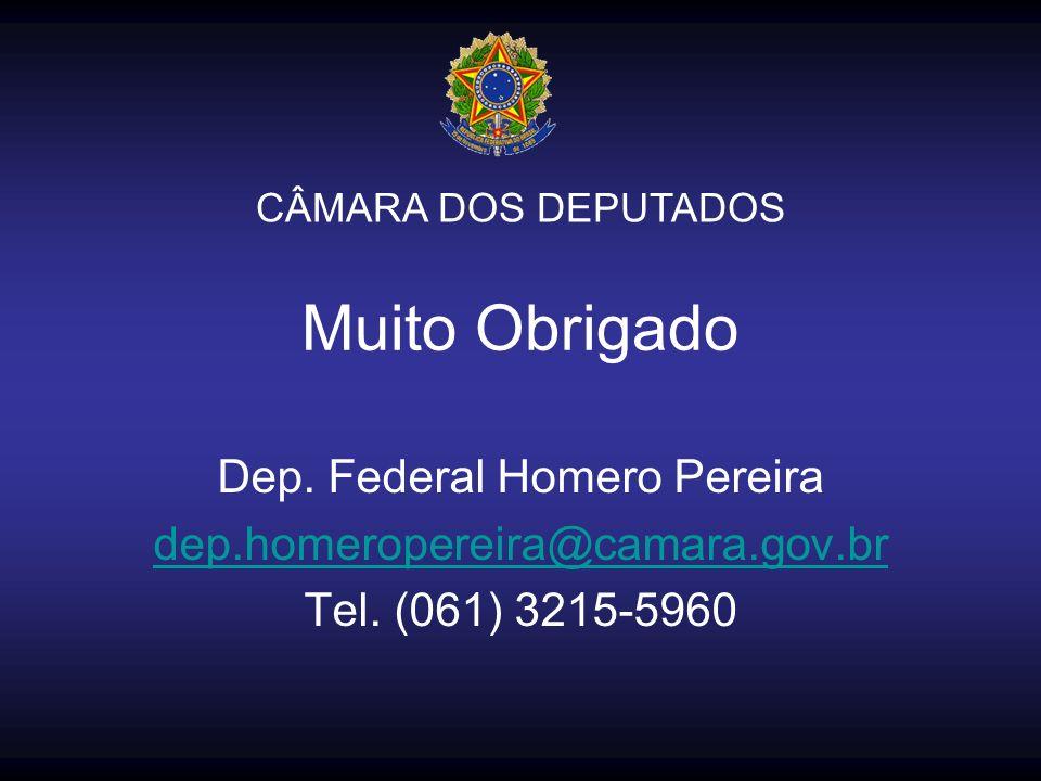 Muito Obrigado Dep. Federal Homero Pereira dep.homeropereira@camara.gov.br Tel. (061) 3215-5960 CÂMARA DOS DEPUTADOS