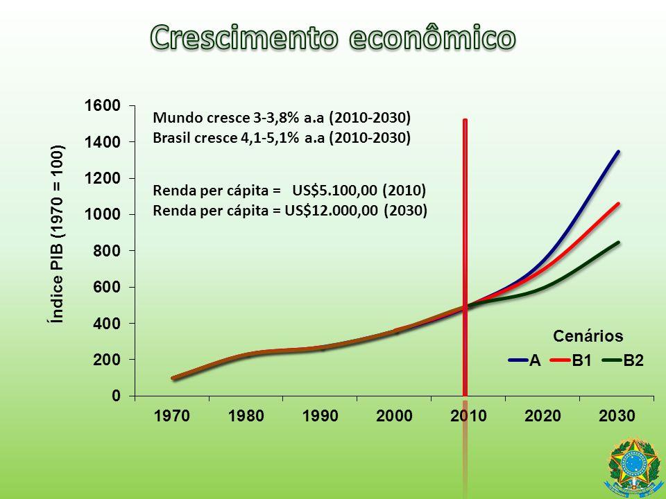 Cenários Mundo cresce 3-3,8% a.a (2010-2030) Brasil cresce 4,1-5,1% a.a (2010-2030) Renda per cápita = US$5.100,00 (2010) Renda per cápita = US$12.000