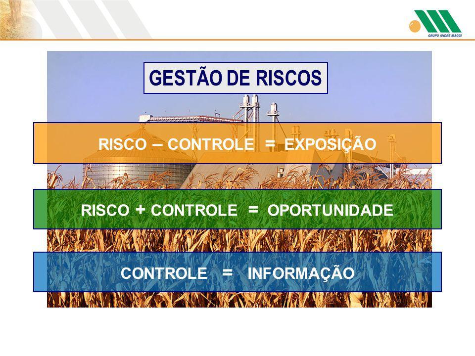 RISCO – CONTROLE = EXPOSIÇÃO GESTÃO DE RISCOS RISCO + CONTROLE = OPORTUNIDADE CONTROLE = INFORMAÇÃO