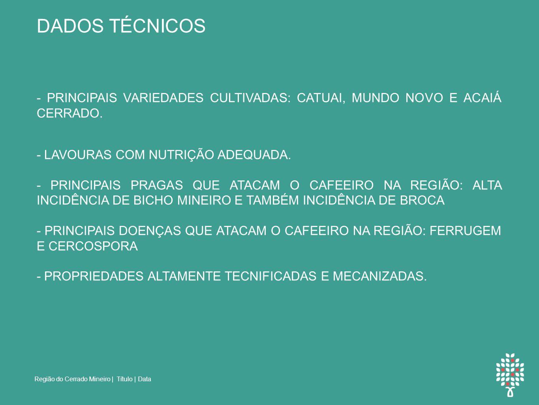 Região do Cerrado Mineiro | Título | Data DADOS TÉCNICOS - PRINCIPAIS VARIEDADES CULTIVADAS: CATUAI, MUNDO NOVO E ACAIÁ CERRADO.