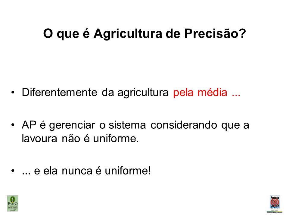 O que é Agricultura de Precisão? Diferentemente da agricultura pela média... AP é gerenciar o sistema considerando que a lavoura não é uniforme.... e