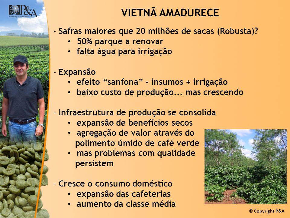 © Copyright P&A VIETNÃ AMADURECE -Safras maiores que 20 milhões de sacas (Robusta)? 50% parque a renovar falta água para irrigação -Expansão efeito sa