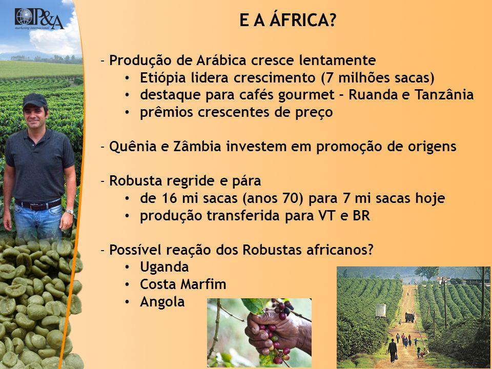 © Copyright P&A E A ÁFRICA? -Produção de Arábica cresce lentamente Etiópia lidera crescimento (7 milhões sacas) destaque para cafés gourmet - Ruanda e