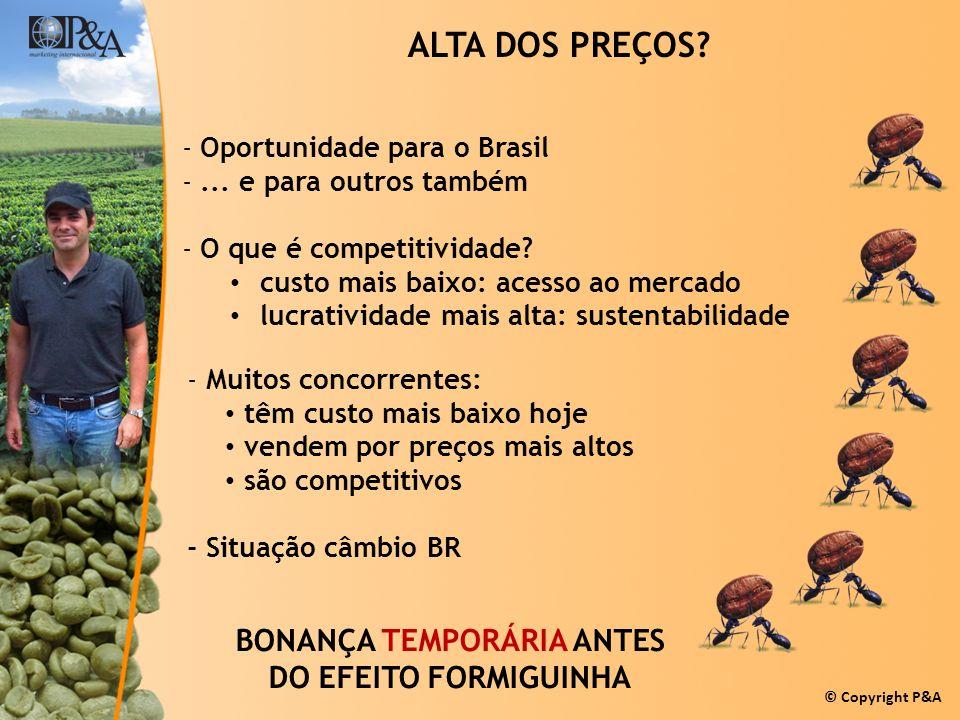 © Copyright P&A ALTA DOS PREÇOS? -Oportunidade para o Brasil -... e para outros também -O que é competitividade? custo mais baixo: acesso ao mercado l