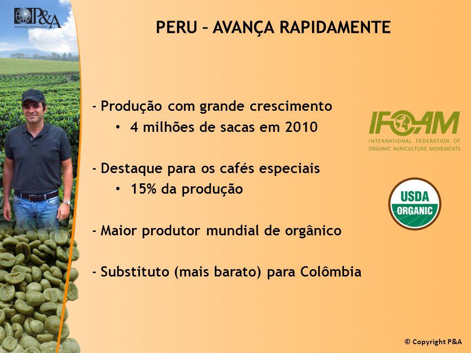 © Copyright P&A PERU – AVANÇA RAPIDAMENTE -Produção com grande crescimento 4 milhões de sacas em 2010 -Destaque para os cafés especiais 15% da produçã
