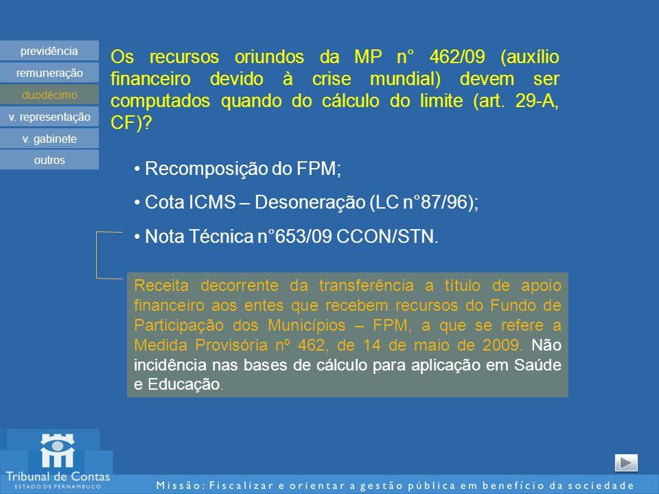 Os recursos oriundos da MP n° 462/09 (auxílio financeiro devido à crise mundial) devem ser computados quando do cálculo do limite (art. 29-A, CF)? pre