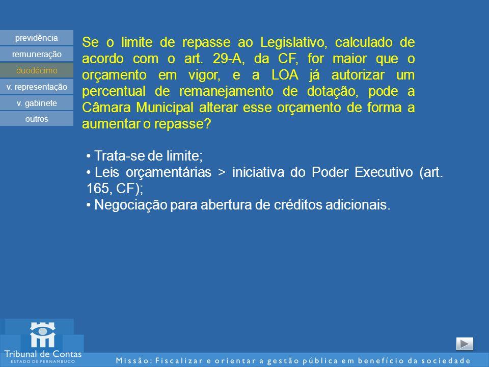 Se o limite de repasse ao Legislativo, calculado de acordo com o art. 29-A, da CF, for maior que o orçamento em vigor, e a LOA já autorizar um percent
