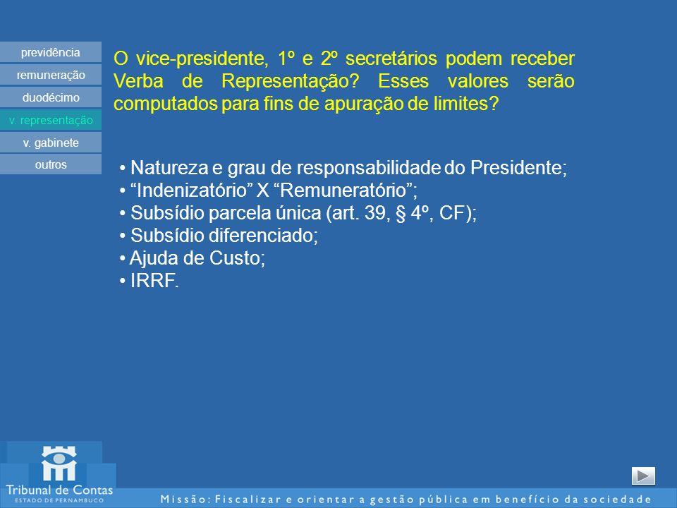 O vice-presidente, 1º e 2º secretários podem receber Verba de Representação? Esses valores serão computados para fins de apuração de limites? previdên