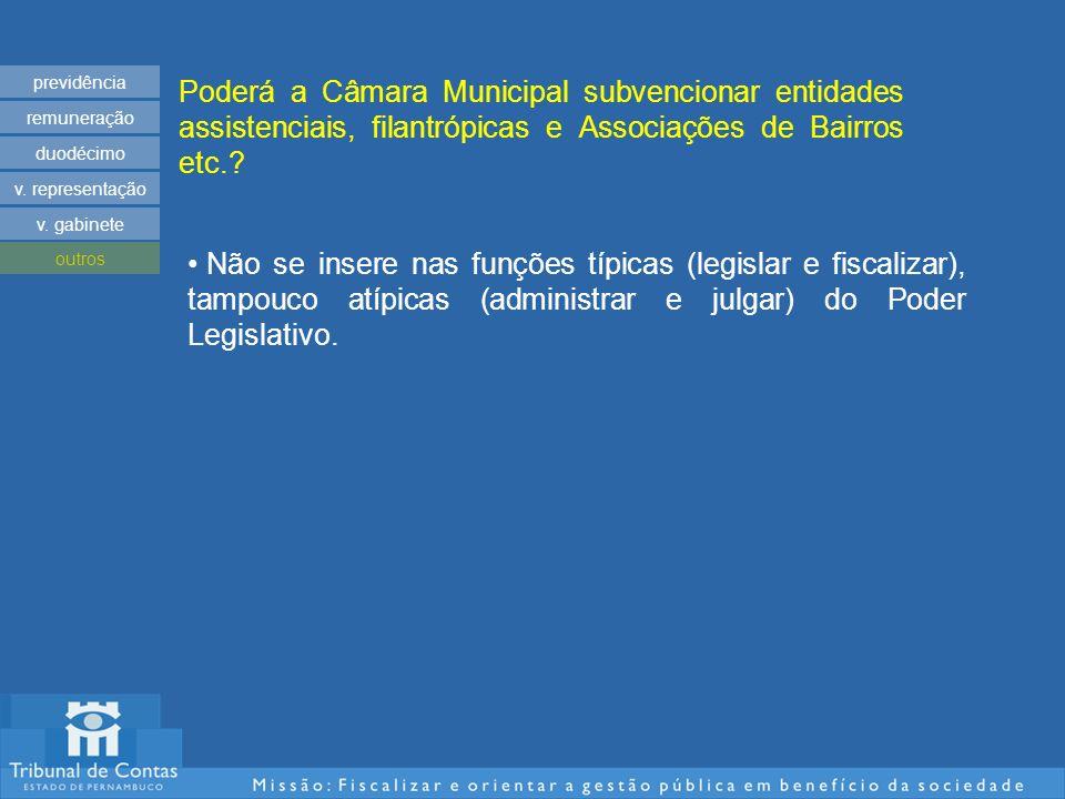 Poderá a Câmara Municipal subvencionar entidades assistenciais, filantrópicas e Associações de Bairros etc..