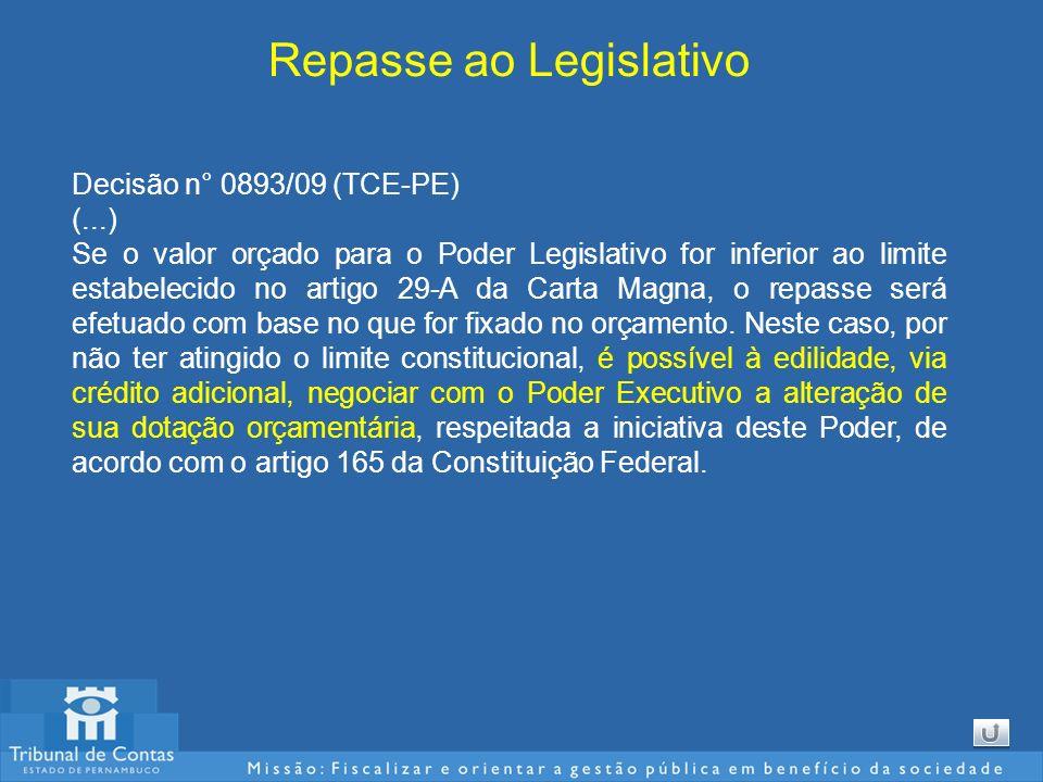Repasse ao Legislativo Decisão n° 0893/09 (TCE-PE) (...) Se o valor orçado para o Poder Legislativo for inferior ao limite estabelecido no artigo 29-A da Carta Magna, o repasse será efetuado com base no que for fixado no orçamento.