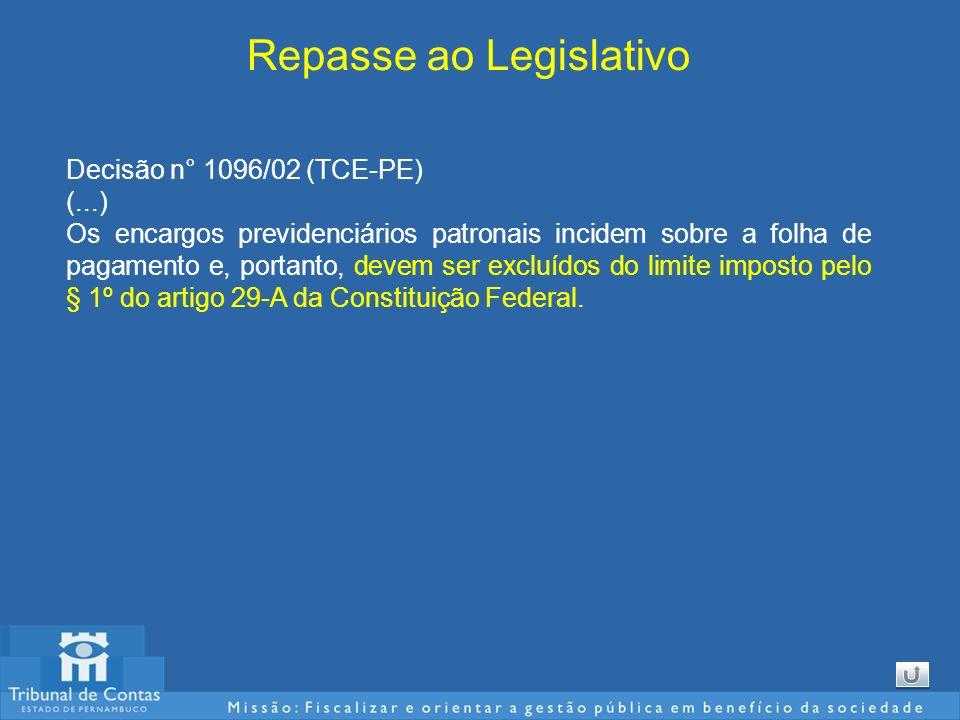 Repasse ao Legislativo Decisão n° 1096/02 (TCE-PE) (...) Os encargos previdenciários patronais incidem sobre a folha de pagamento e, portanto, devem s
