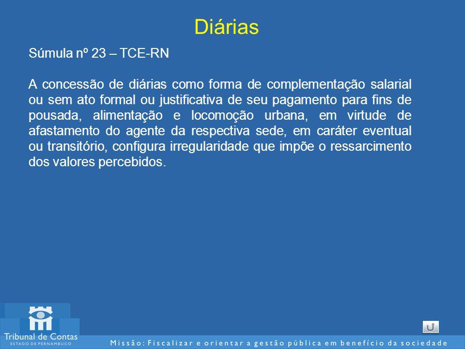 Diárias Súmula nº 23 – TCE-RN A concessão de diárias como forma de complementação salarial ou sem ato formal ou justificativa de seu pagamento para fi