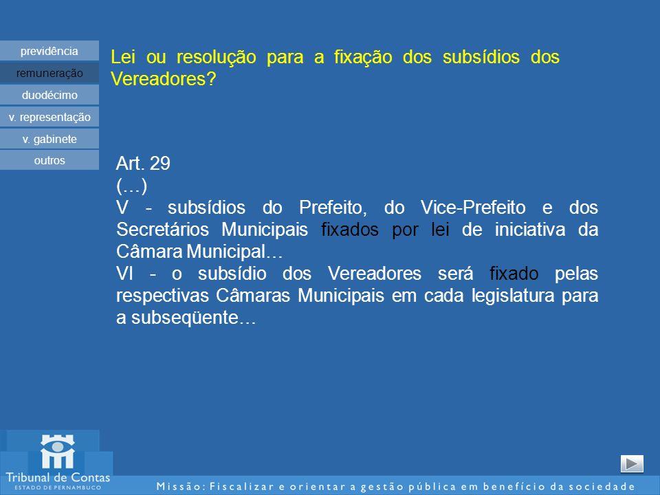 Lei ou resolução para a fixação dos subsídios dos Vereadores? previdência remuneração duodécimo v. representação v. gabinete Art. 29 (…) V - subsídios