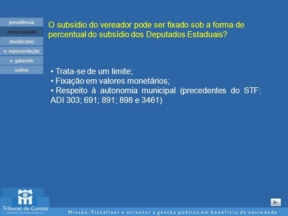 O subsídio do vereador pode ser fixado sob a forma de percentual do subsídio dos Deputados Estaduais.