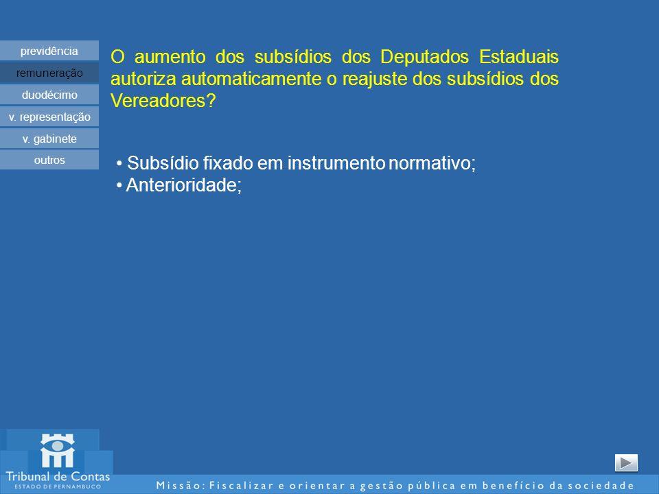 O aumento dos subsídios dos Deputados Estaduais autoriza automaticamente o reajuste dos subsídios dos Vereadores? previdência remuneração duodécimo v.