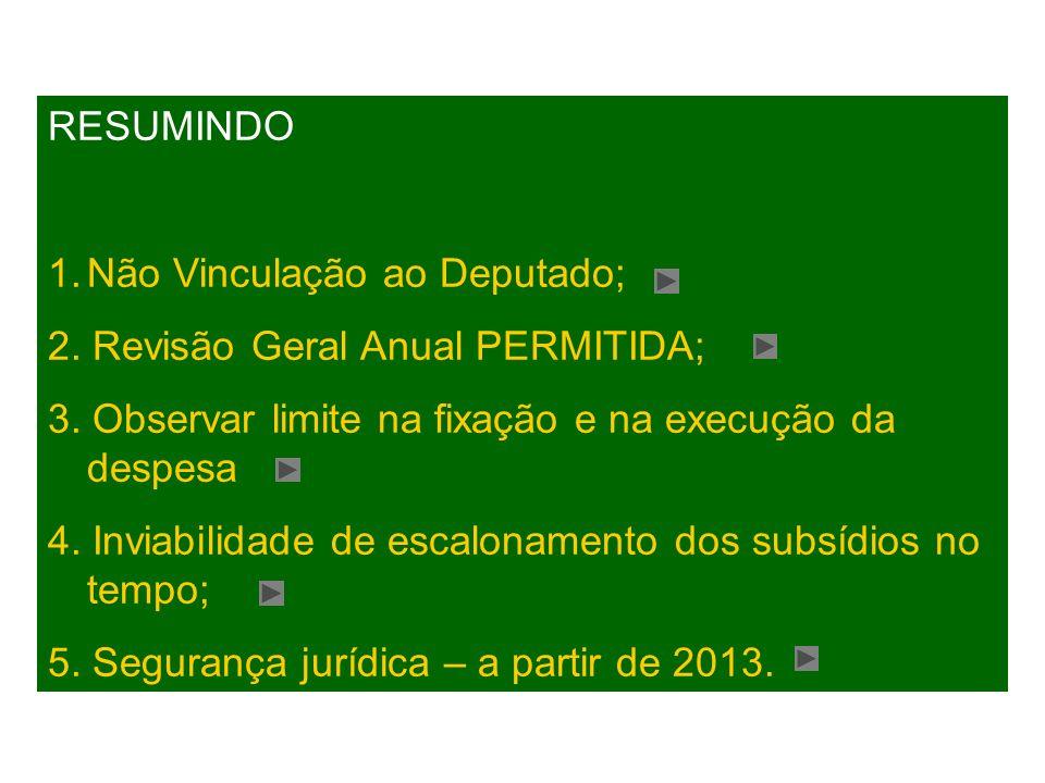 RESUMINDO 1.Não Vinculação ao Deputado; 2. Revisão Geral Anual PERMITIDA; 3. Observar limite na fixação e na execução da despesa 4. Inviabilidade de e