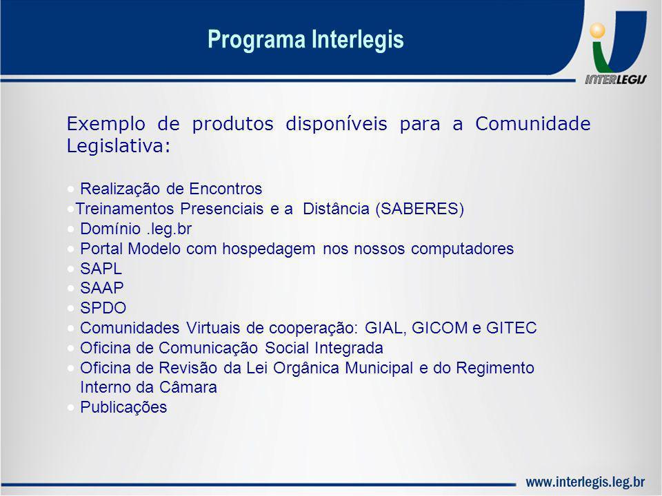 Programa Interlegis Exemplo de produtos disponíveis para a Comunidade Legislativa: Realização de Encontros Treinamentos Presenciais e a Distância (SAB
