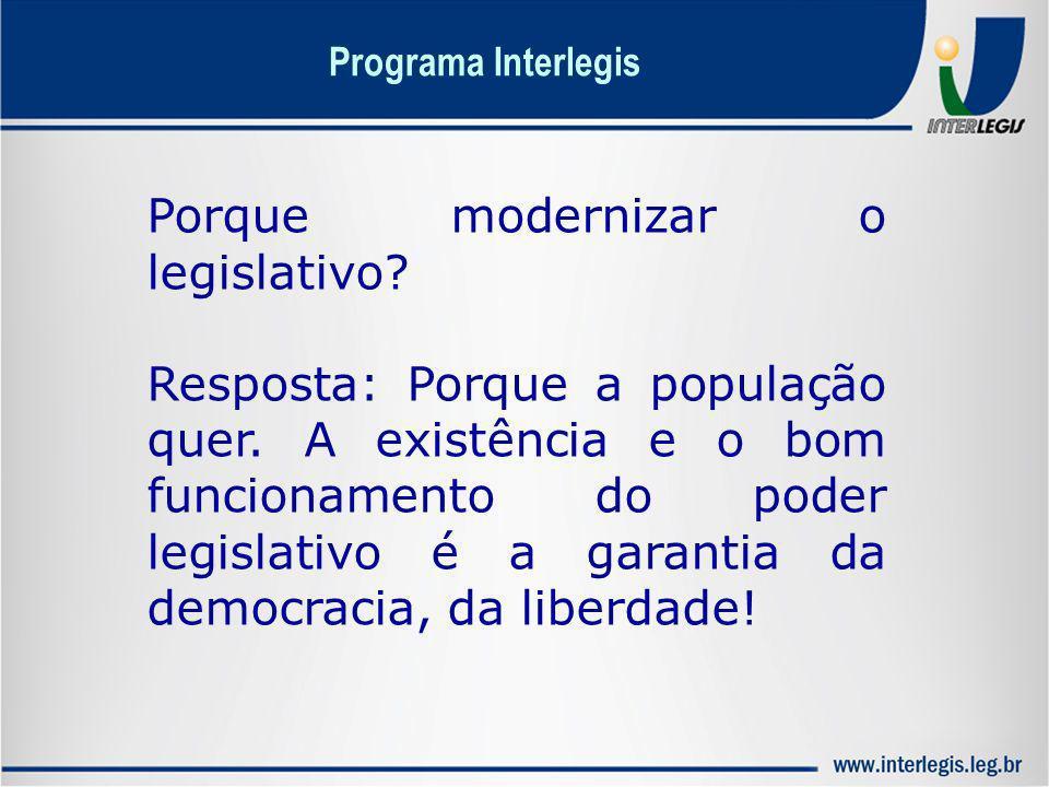 Porque modernizar o legislativo? Resposta: Porque a população quer. A existência e o bom funcionamento do poder legislativo é a garantia da democracia