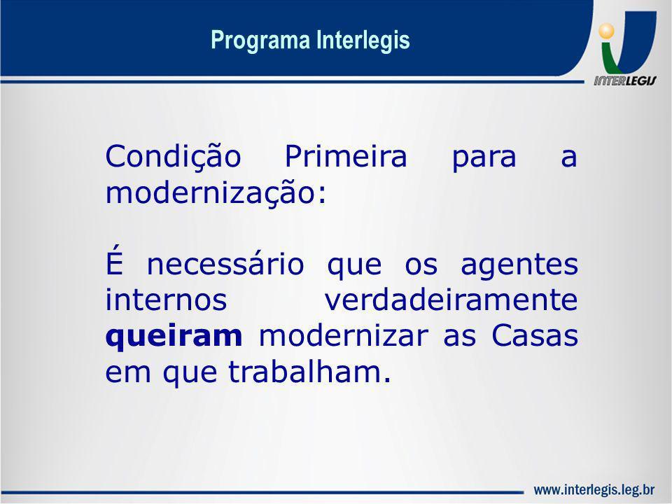 Condição Primeira para a modernização: É necessário que os agentes internos verdadeiramente queiram modernizar as Casas em que trabalham. Programa Int