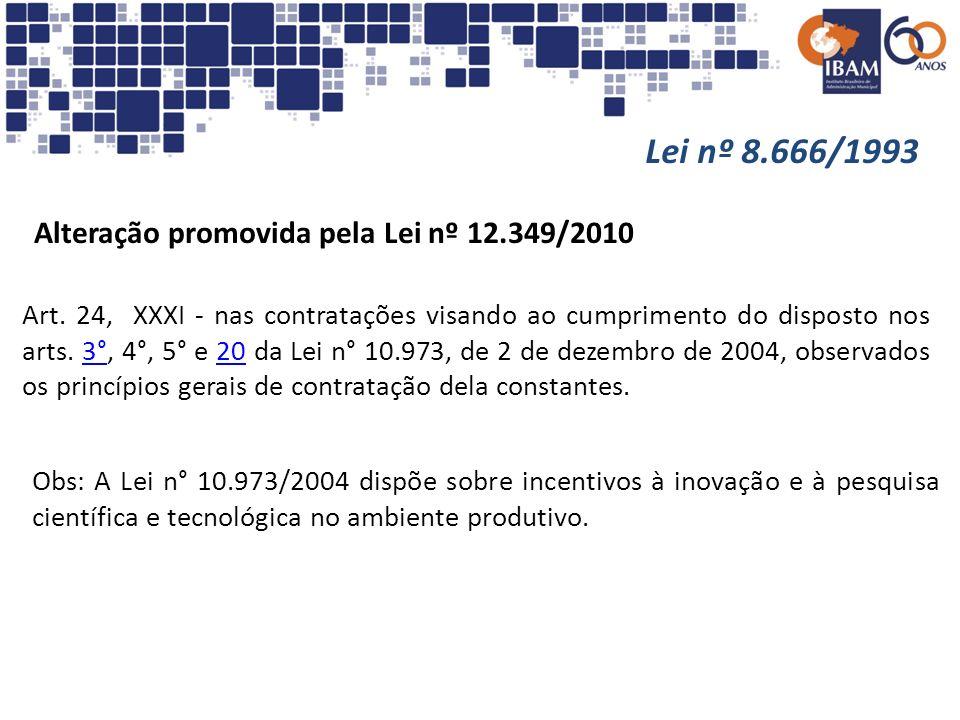 Lei nº 8.666/1993 Alteração promovida pela Lei nº 12.349/2010 Art. 24, XXXI - nas contratações visando ao cumprimento do disposto nos arts. 3°, 4°, 5°