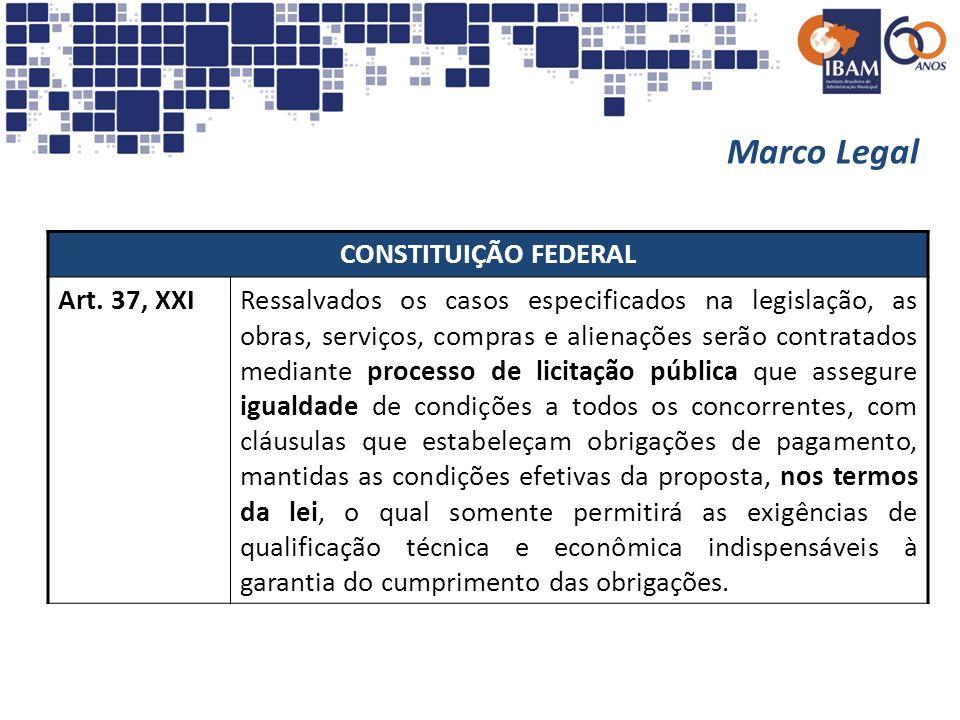 Marco Legal CONSTITUIÇÃO FEDERAL Art. 37, XXIRessalvados os casos especificados na legislação, as obras, serviços, compras e alienações serão contrata