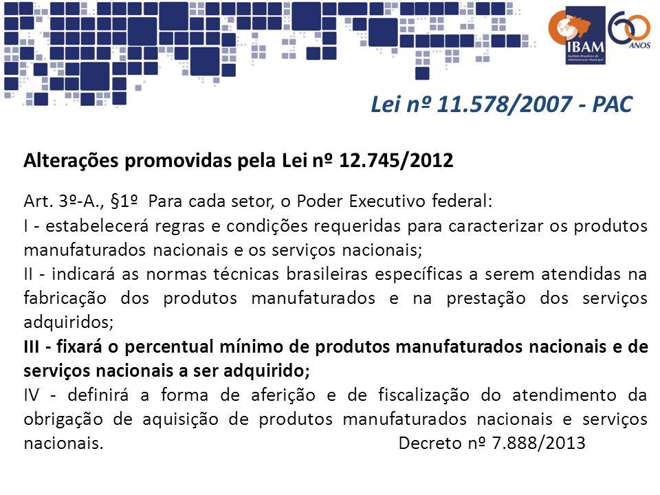 Lei nº 11.578/2007 - PAC Alterações promovidas pela Lei nº 12.745/2012 Art. 3º-A., §1º Para cada setor, o Poder Executivo federal: I - estabelecerá re