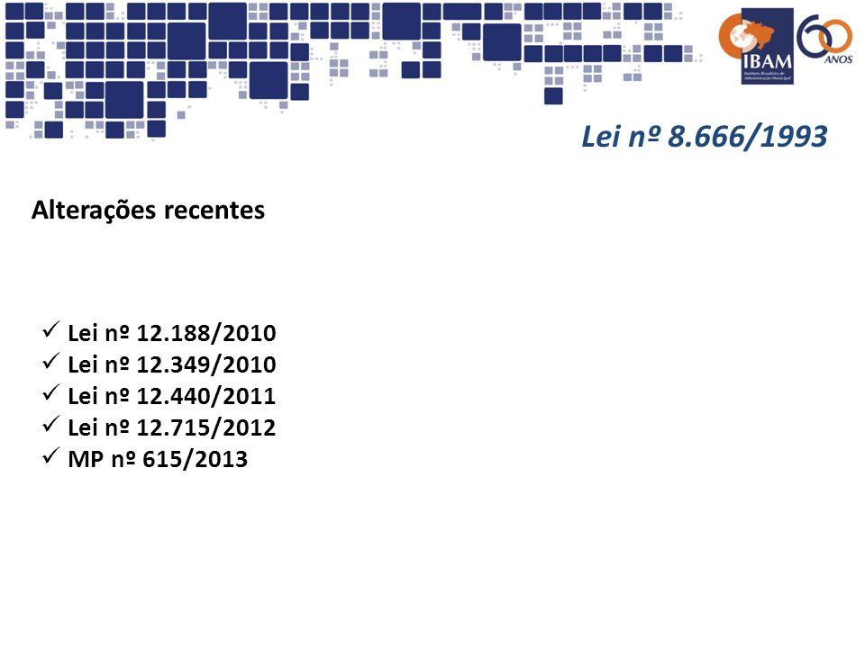 Lei nº 8.666/1993 Alterações promovidas pela Lei nº 12.715/2012 Art.