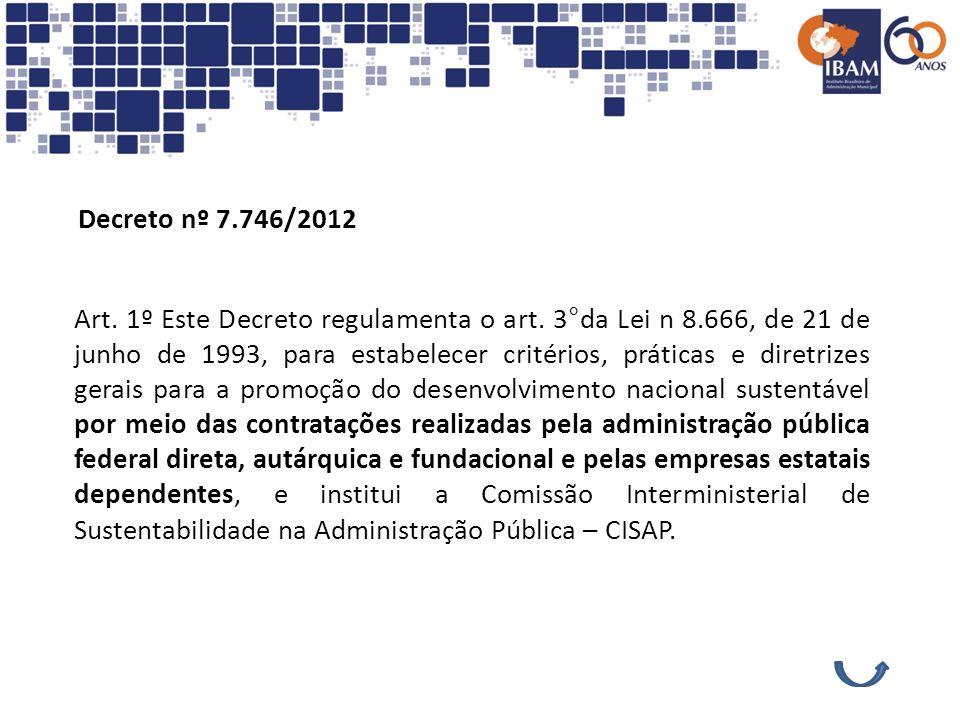 Decreto nº 7.746/2012 Art. 1º Este Decreto regulamenta o art. 3°da Lei n 8.666, de 21 de junho de 1993, para estabelecer critérios, práticas e diretri