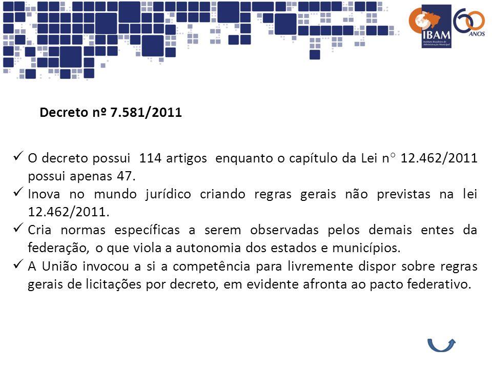 Decreto nº 7.581/2011 O decreto possui 114 artigos enquanto o capítulo da Lei n° 12.462/2011 possui apenas 47. Inova no mundo jurídico criando regras