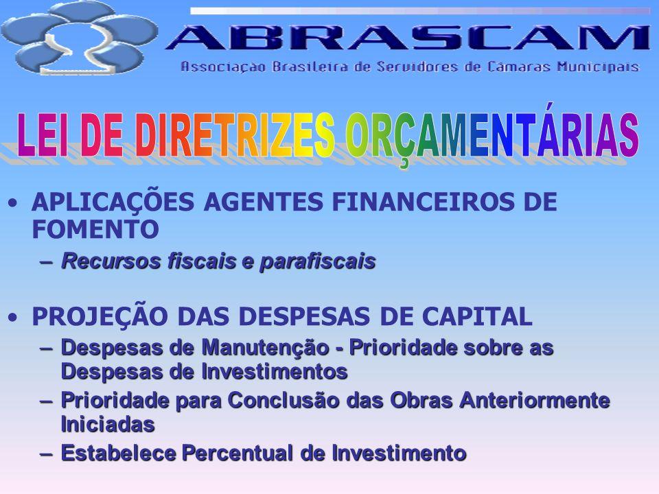APLICAÇÕES AGENTES FINANCEIROS DE FOMENTO –Recursos fiscais e parafiscais PROJEÇÃO DAS DESPESAS DE CAPITAL –Despesas de Manutenção - Prioridade sobre