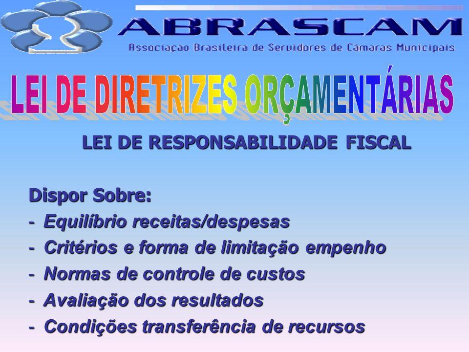 LEI DE RESPONSABILIDADE FISCAL Dispor Sobre: -Equilíbrio receitas/despesas -Critérios e forma de limitação empenho -Normas de controle de custos -Aval