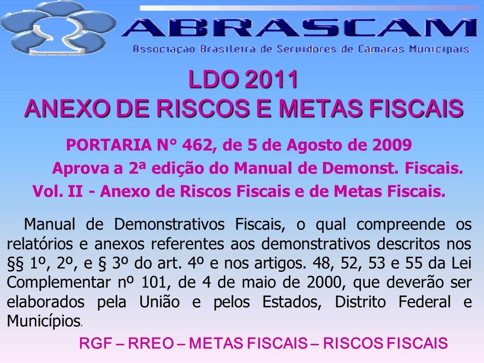 LDO 2011 ANEXO DE RISCOS E METAS FISCAIS PORTARIA N° 462, de 5 de Agosto de 2009 Aprova a 2ª edição do Manual de Demonst. Fiscais. Vol. II - Anexo de